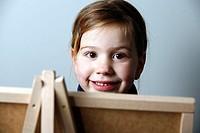 Girls, smiles, gaze, easel, portrait,