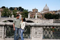 Italy, Rome, Vatican, Peter-cathedral, Ponte S  Angelo, pair, gaze-contact, stands,