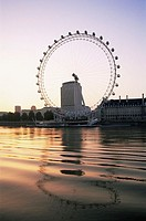 Great Britain, England, London, river Thames giant-wheel ´London Eye´ sunset series, Europe, city, capital, riversides, Thames-shores, sight, tourism,...