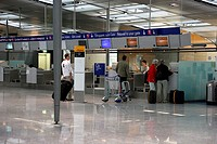 Germany, Hesse, Frankfurt on the Main, airport, terminal, Check-in, travelers, indoors, airport-hall, hall, counters, airport-counters, trip, checks i...