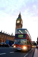 Great Britain, England, London, Big Ben, biplane-bus, Europe, city, capital, destination, sight, landmarks, buildings, architecture, tower, belfry, cl...
