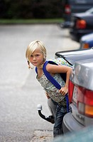 School-way, girls, carefully, cars, parks, looks, series, people, child, schoolchild, 7 years, blond, braids, backpack, school satchels, clothing, sum...