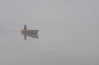 USA, Alaska, Stephen´s passage, Douglas Island, man, boat, fog, drives sea, North America southeast-Alaska southeast Panhandle Inside passage, Alaska-...