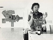 A portrait of the American artist Robert Rauschenberg born 1925, who often uses found objects and found images in his work  He is shown here on Captiv...