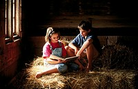 Brother and sister in barn reading a book together