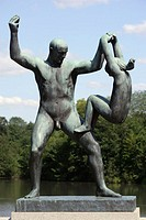 Gustav Vigeland's statues of man and girl at Frogner Park, Oslo. Norway
