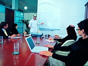 Meeting of Arab businesspeople in a boardroom