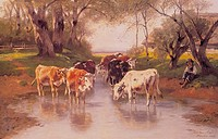 fine arts, Mali, Christian Friedrich, 1832 _ 1906, painting, Kühe, cows, 1903, historic, historical, Europe, Germany, 20th century, agriculture, cattl...