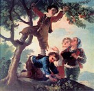 fine arts, Goya y Lucientes, Francisco de, 1746 _ 1828, painting, Muchachos cogiendo fruta, boys picking fruit, 1777, Prado, Madrid, historic, histori...