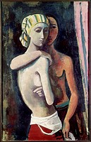 fine arts, Hofer, Karl, 1878 _ 1955, painting, Zwei Mädchen, two girls, 1935, historic, historical, Europe, Germany, 20th century, expressionism, two ...