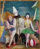 fine arts, Hofer, Karl, 1878 _ 1955, painting, Zirkusleute, circus people, circa 1921, Folkwang museum, Essen, historic, historical, Europe, Germany, ...
