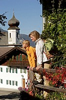 Mother, daughter, hiking, mountain-village, farmhouse, balcony,