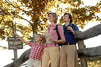 Family, hiking, binoculars, traveling-card,