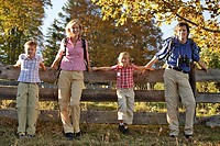 Family, hiking, rest, fence,