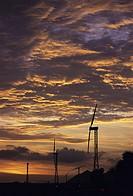 Silhouette of a wind turbine, Tamil Nadu, India
