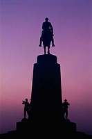 Silhouette of a statue at dusk, Virginia Memorial, Gettysburg National Military Park, Gettysburg, Pennsylvania, USA