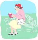 Elderly Lady Reading, Linda Braucht 20th C American, Computer Graphics