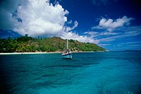 Sailboat in the ocean, Praslin Island, Seychelles