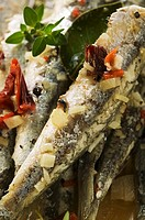 Fried anchovies with dried tomatoes Calabria
