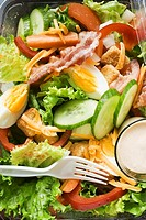 Salad leaves with egg, cheese, bacon and dressing to take away