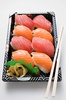 Tray of nigiri sushi to take away