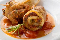 Belly pork rolls with tomato pesto, white bread