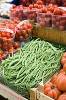 Green beans and tomatoes at a market