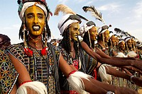 Niger. A Wodaabe_Bororo man with his face painted for the annual Gerewol male beauty contest. Gerewol, general reunion of West Africa for the Wadabee ...