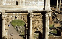 The Arch of Septimus Severus standing in the Forum in Rome was built in 203 AD. 2005. Rome. Italy