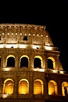 A section of the Colosseum at night. 2006. Rome. Lazio. Italy.