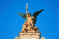 Statue on the roof of the Vinohrady Theatre, Prague, Czech republic