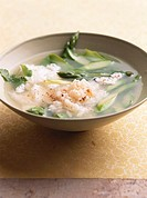 Sup cua mang tay Asparagus soup with crabmeat, Vietnam