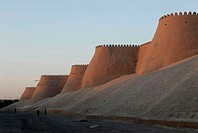 Uzbekistan, Khiva, city walls built in adobe