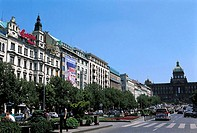 Czech Republic, Prague, Wenceslas avenue and National Museum