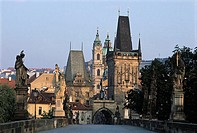 Czech Republic, Prague, Charles Bridge and Lesser Town Bridge Towers