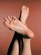 Naked female feet on a brown background