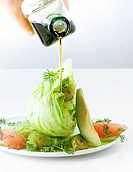 Grapefruit and iceberg lettuce with avocado and jalapeno