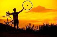 Cyclist. Climbing La Gamonal Pass or L´Angliru (1570 m). Asturias. Spain.