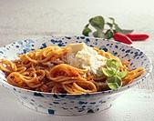 Spaghetti all'arrabbiata spicy pasta dish, Italy