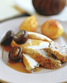 Chicken breast with stuffing, mushrooms & roast potatoes
