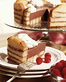 Sponge cake with raspberry jam, chocolate cream and cream