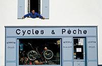 Bike shop. Ars en Ré. Ile de Ré. Poitou-Charentes. Charente-Maritime. France.