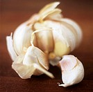 An opened garlic bulb