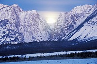 Full Moon Setting Behind The Grand Tetons, Jackson, Wyoming