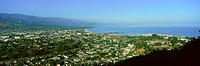 Panoramic aerial view of Santa Barbara California and Pacific Ocean