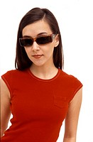 Caucasian female wearing sunglasses