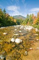 An autumn waterway along the Kancamagus Highway in the White Mountain National Forest