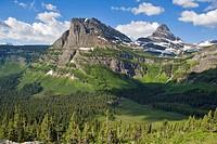 Aerial view of Glacier National Park. Montana, USA