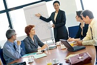 Business meeting, woman standing, gesturing to flipchart