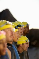 Swimmers Waiting for Start of Triathlon